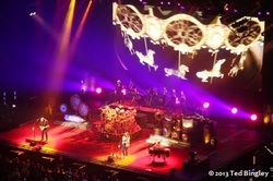 A bird's eye view of the stage setup for Rush's Clockwork Angels concert